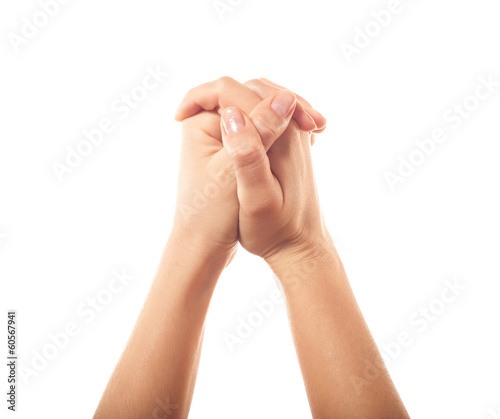Two pleading human hands on white background