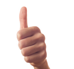 Gesturing one human hand with thumb up on white background