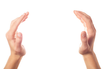 Applause two human hands on white background