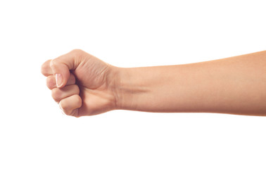 Human's fist on white background