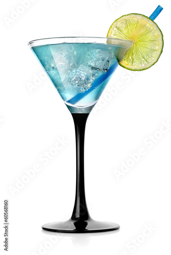 Blue cocktail with lime and ice
