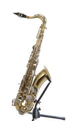 Golden tenor sax with silver valves
