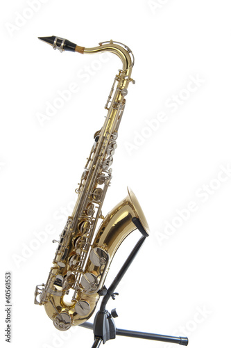 Golden tenor sax with silver valves