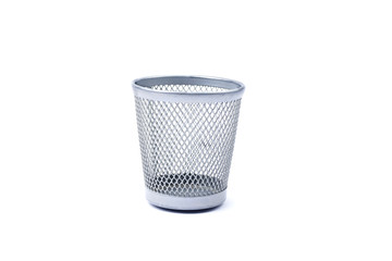 Empty iron trash bin, isolated on white background