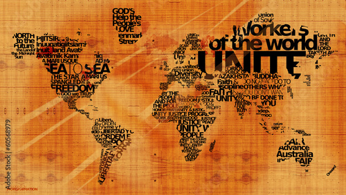 World united nations motos message wood map word tag cloud