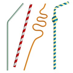 realistic 3d render of drinking straws