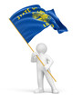 Man and flag of Oregon (clipping path included)