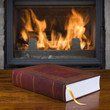 Old book and fireplace