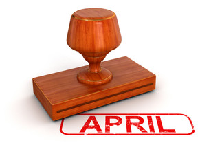 Rubber Stamp April (clipping path included)