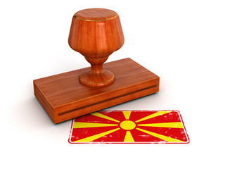 Rubber Stamp Macedonian flag (clipping path included)