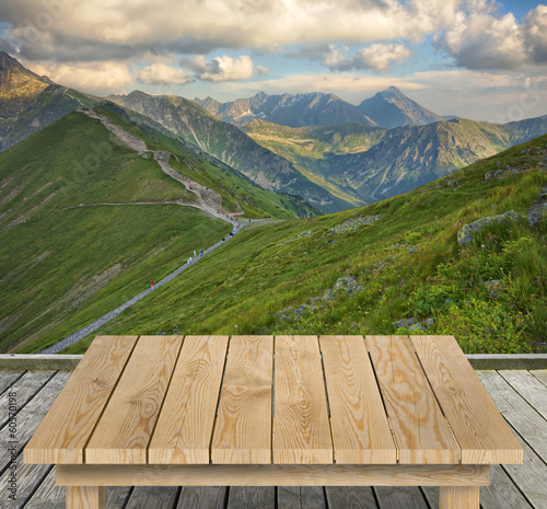 Tabletop with mountain view
