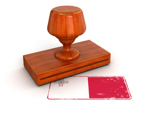 Rubber Stamp Malta flag (clipping path included)