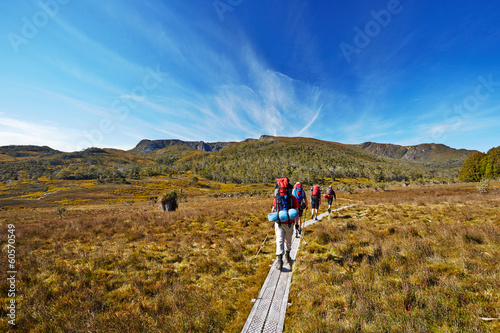 Tuinposter Alpinisme Hikers on Overland Trail in Tasmania, Australia