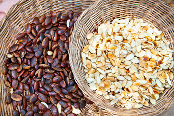 Forest seeds at the market in Cambodia.