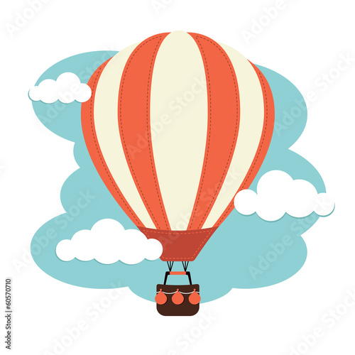 Hot Air Balloon and Clouds - 60570710