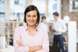 Portrait of smiling Businesswoman in startup , looking camera poster