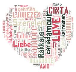 Word Cloud Love in heart shape
