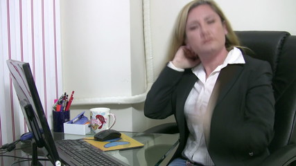 Business woman having neck pain