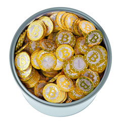 Bitcoins in a bucket