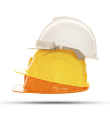 multicolor safety, construction protection helmet isolated white
