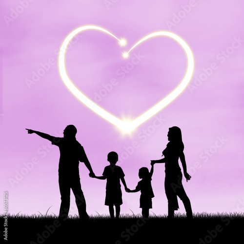 Silhouette of loving family