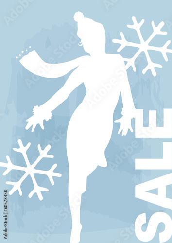 ice-blue winter sales banner,  percentage sign