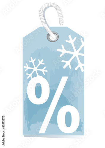 ice-blue sales label with percentage sign and snow