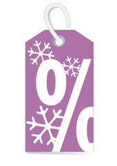 decorative sales label with percentage sign and snow