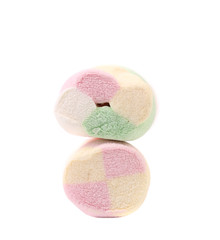 Two different colorful marshmallow.
