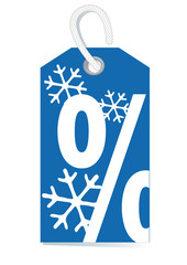 blue decorative price label, percentage sign, winter sale