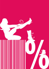 red sales banner, barcode, decoration,display