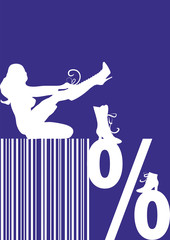 sales banner, barcode, percentage sign, shoes