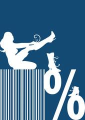 Prozentzeichen, Barcode, Schuhverkauf, Rabatt