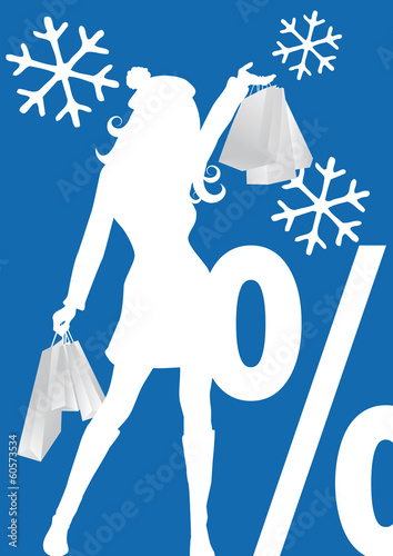 decorative winter sales banner,  percentage sign