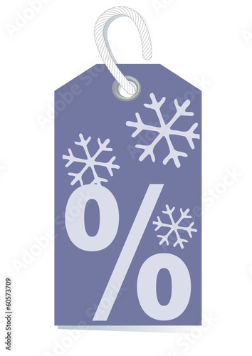 Violet tag for wintersale, percentage sign