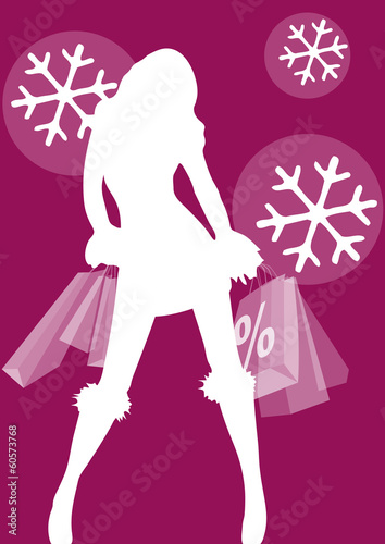 Woman with shopping bag, winter sale