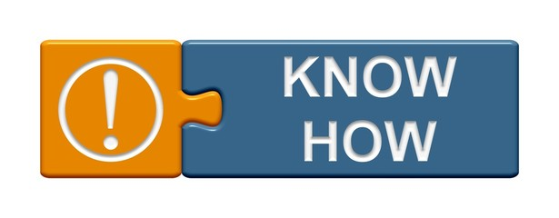 Puzzle-Button orange blau: Know How