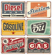 Gas stations and car service vintage tin signs - 60574309