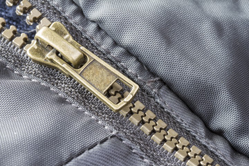 Close up zip detail on outdoor coat