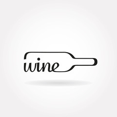 """Wine bottle icon with word """"wine"""""""