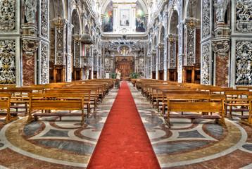 Interior of church La chiesa del Gesu or Casa Professa. Palermo