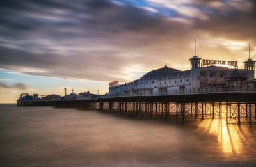 Winter sunset long exposure over Brighton pier.