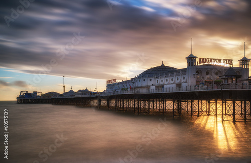 Winter sunset long exposure over Brighton pier. - 60575139