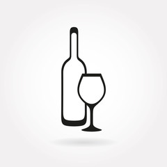 A bottle and a wineglass icon or symbol