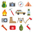 Camping icons flat big set