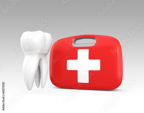 3D teeth on first aid kit for oral care concept - 60575581