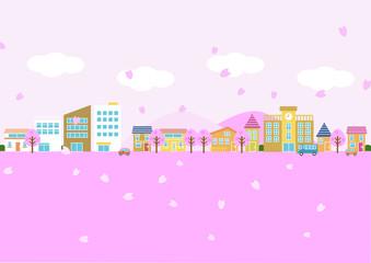 桜の舞う街