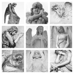 cemetery angelic sculptures collage