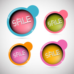 Retro Circle Abstract Sale Labels, Tags Set