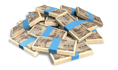 Yen Notes Scattered Pile